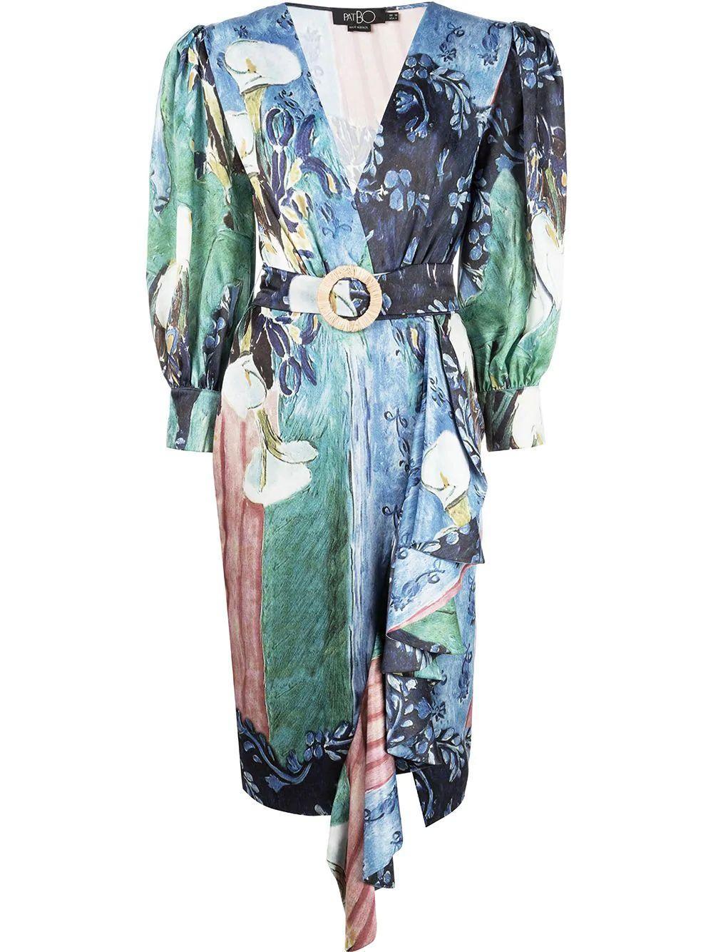 Lily Print Belted Midi Dress Item # VES2152CUS