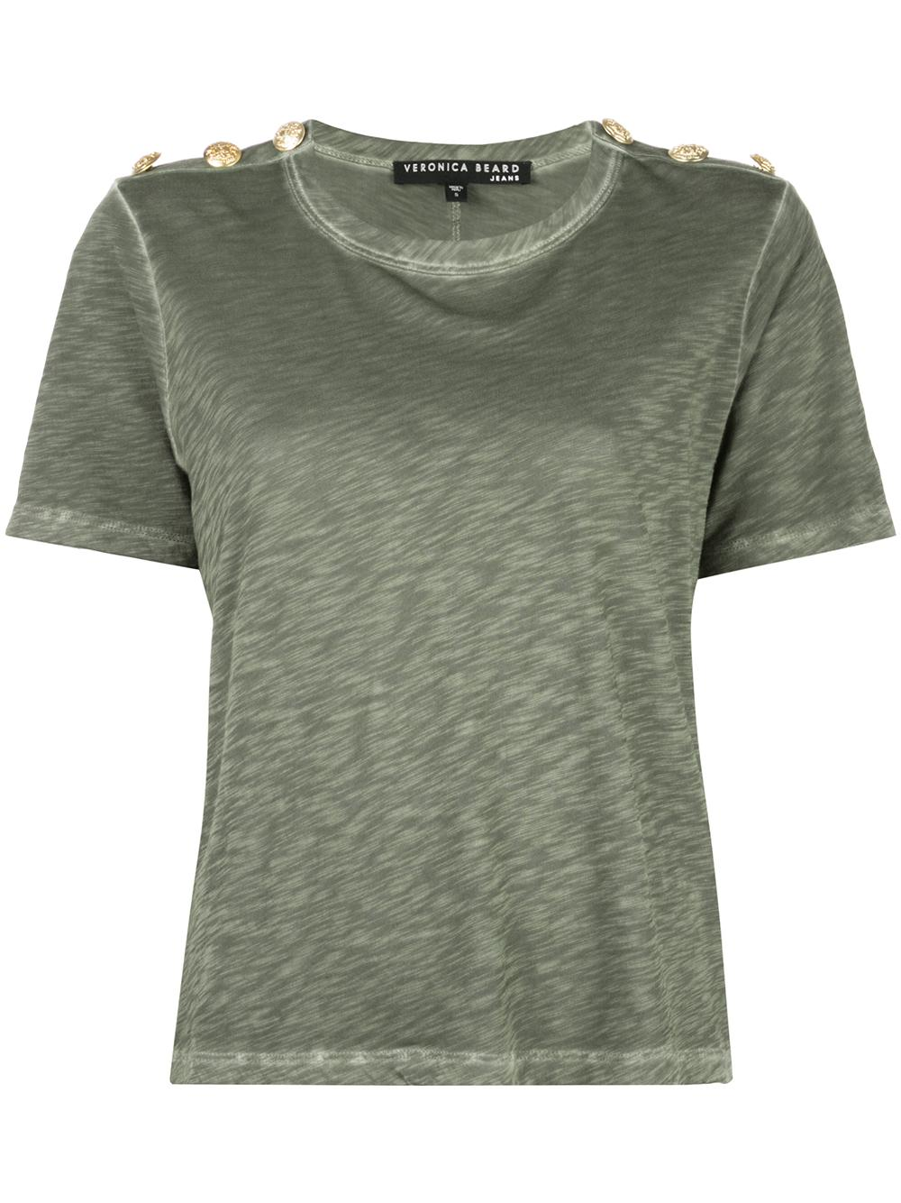 Carla Short Sleeve Crew Neck Tee With Button Shouler
