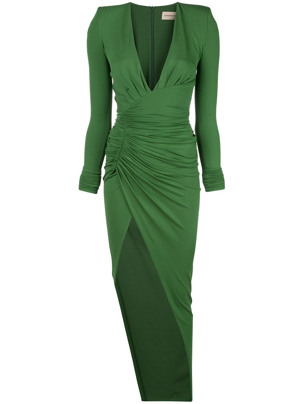 Vneck Long Sleeve Ruched Jersey Gown