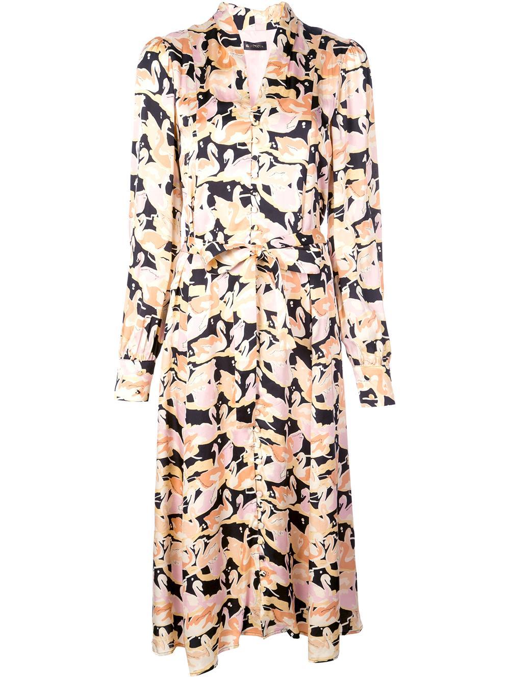 Amelie Swan Print Long Sleeve  Midi Dress