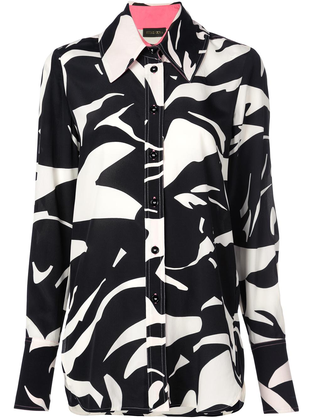 James Abstract Print Long Buttondown Blouses