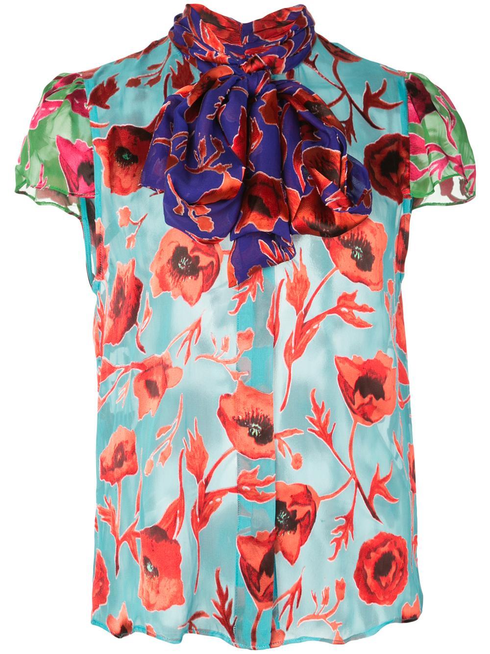 Jeannie Bow Collar Cap Sleeve Buttondown Item # CC907B18003