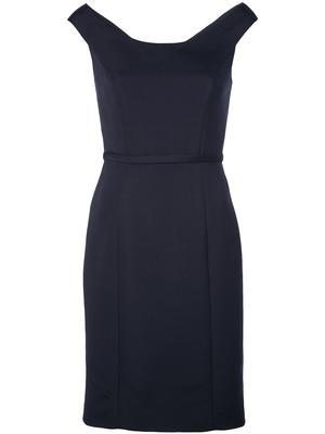 Soft Faille Bateau Neck Dress With Back Button Detail