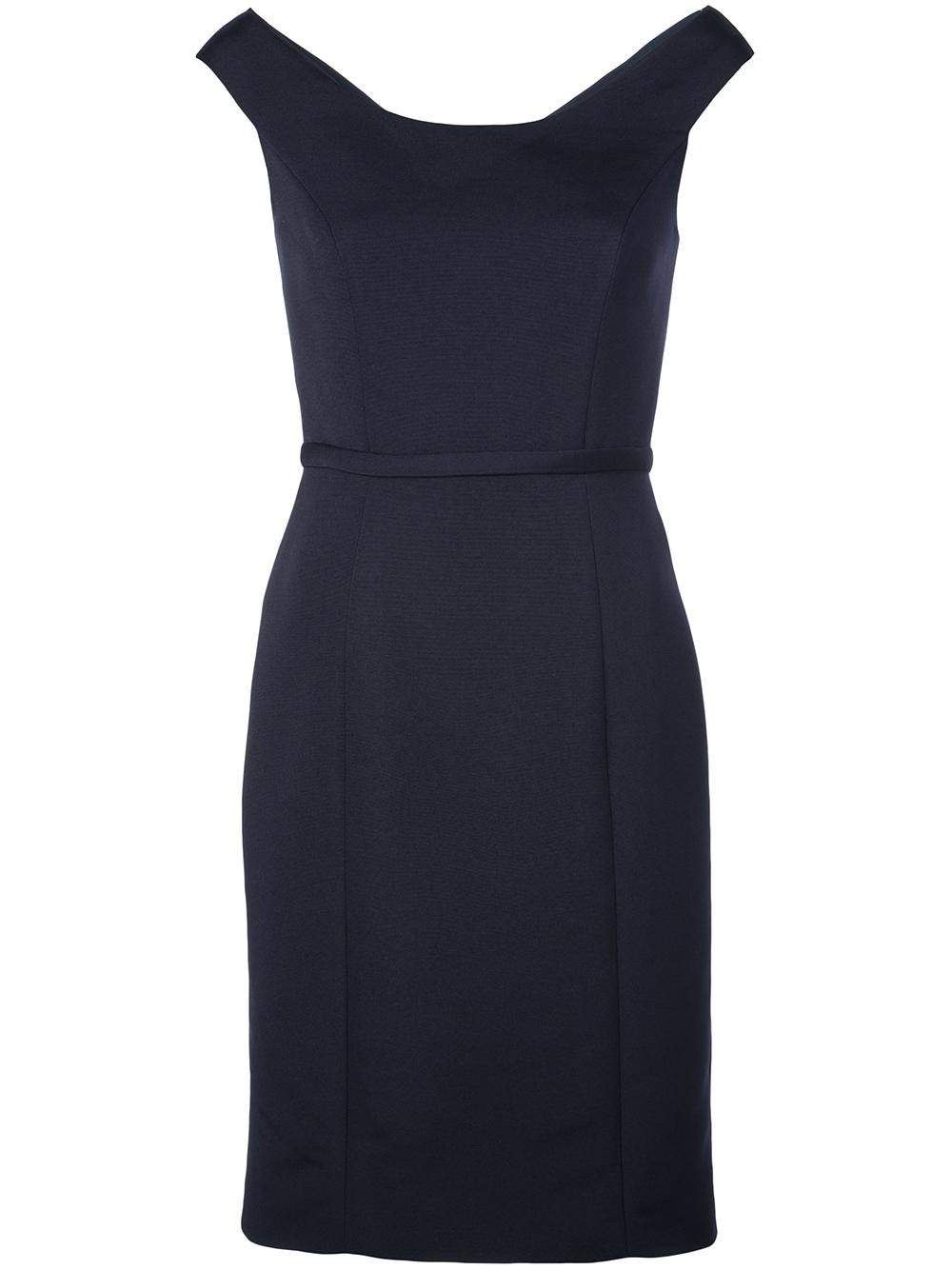 Soft Faille Bateau Neck Dress With Back Button Detail