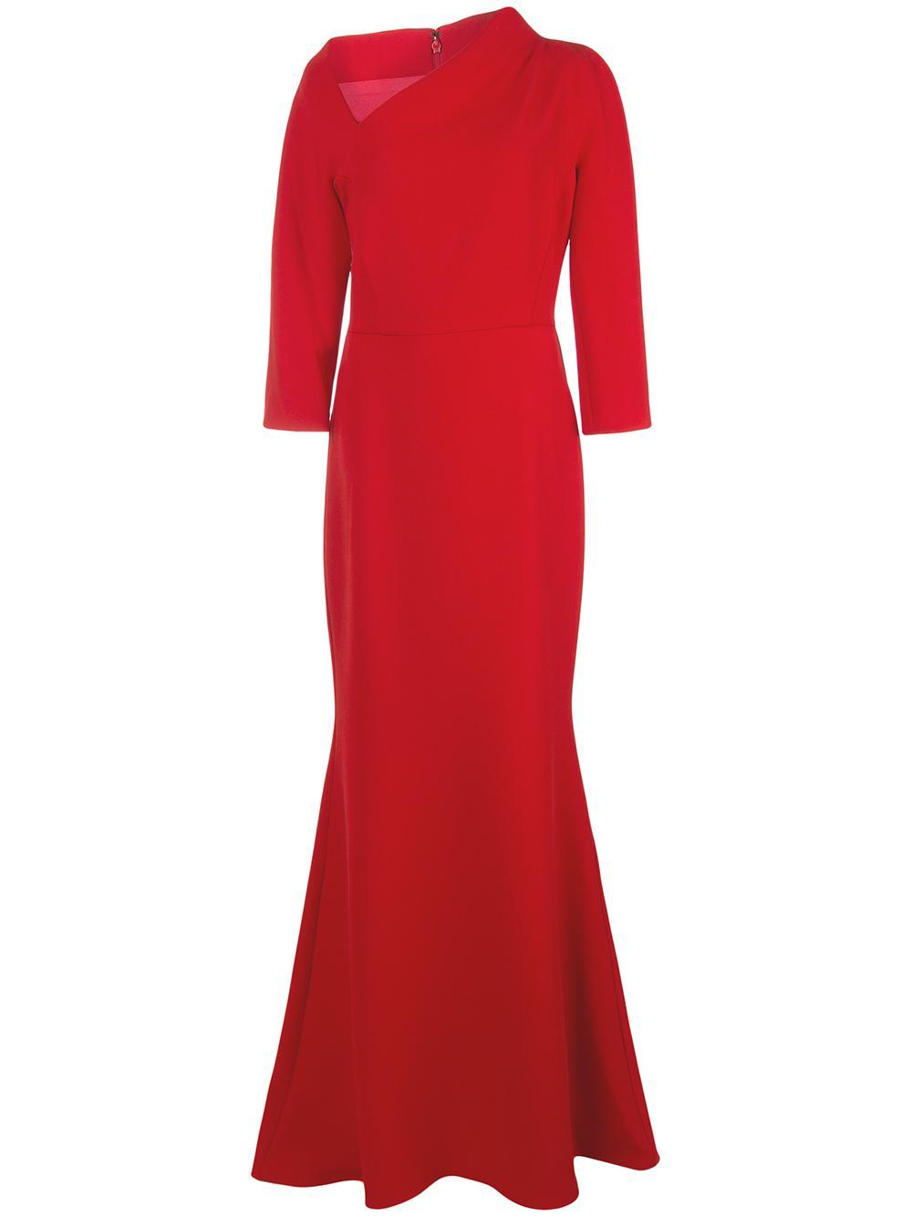 Crepe Asymmetric Neckline Gown