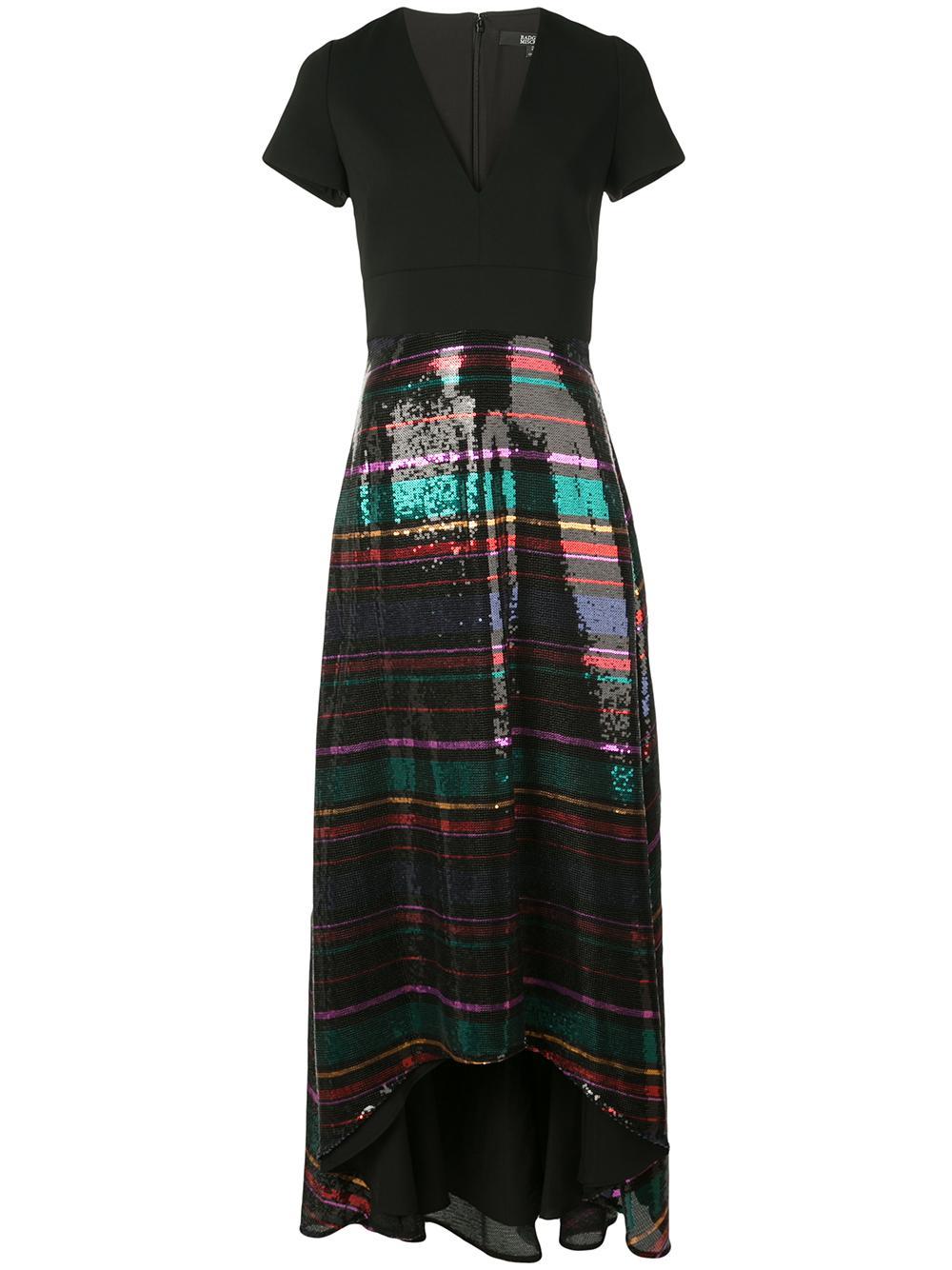 Short Sleeve Deep V Neck Gown