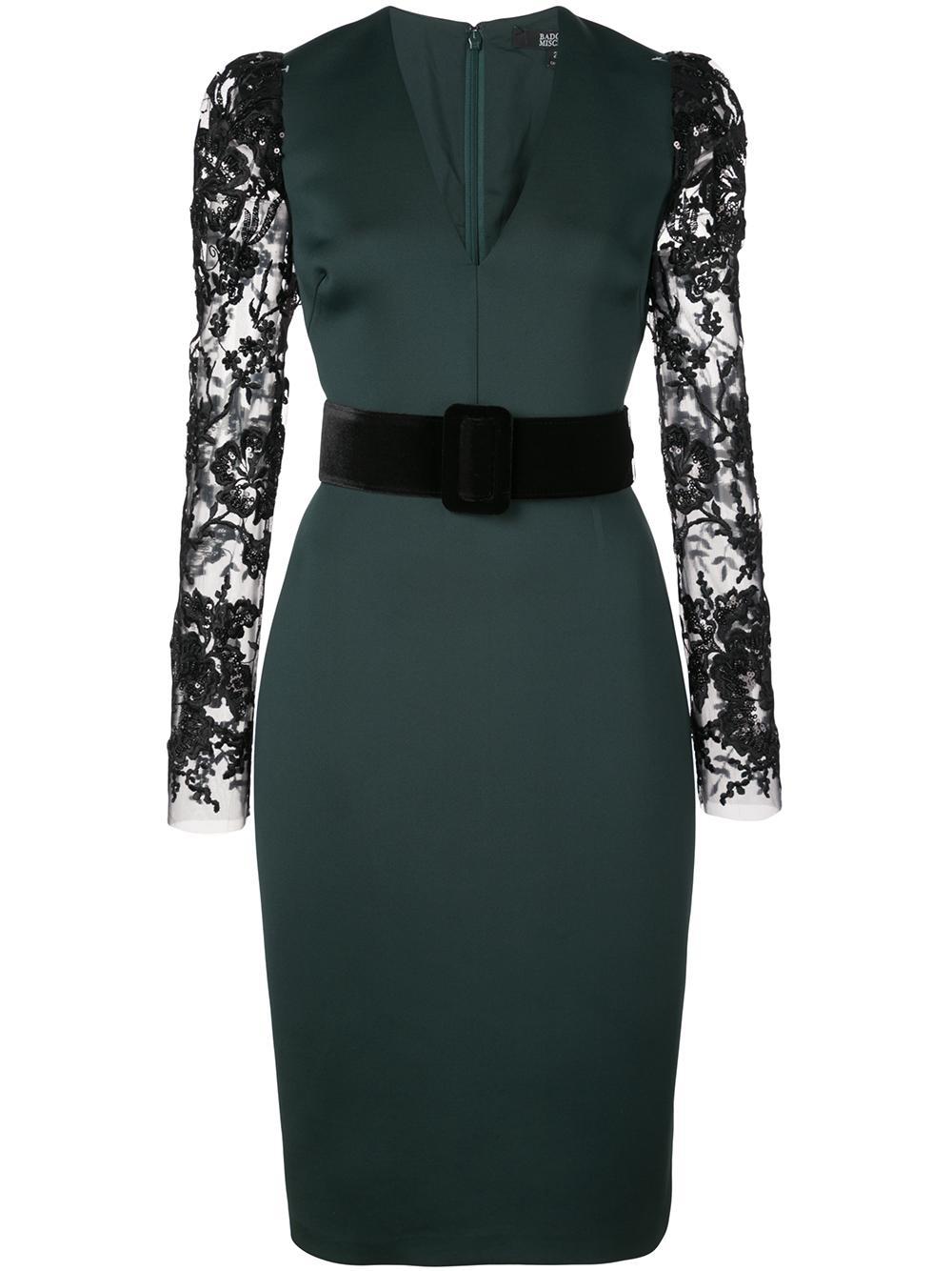 Scuba Lace Sleeve Sheath Dress