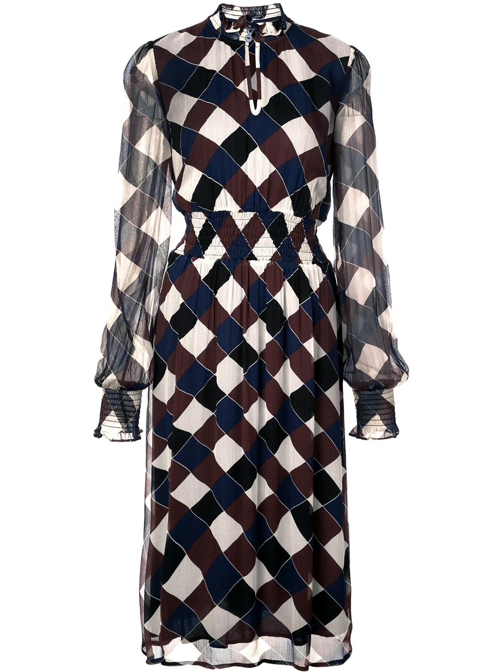 Amal Check Print Sheer Sleeve Dress