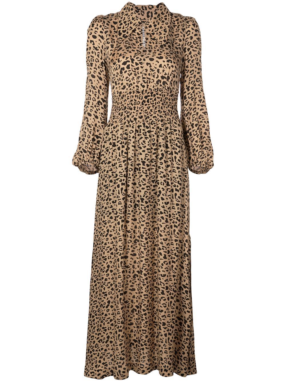 Amber Leopard Smoked Waist Maxi Dress Item # 20499
