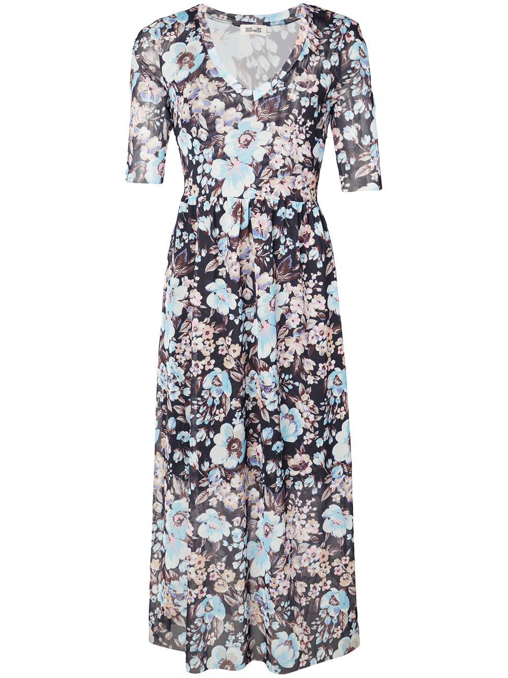Janeth Floral Print 3/4 Sleeve Maxi Dress Item # 20517
