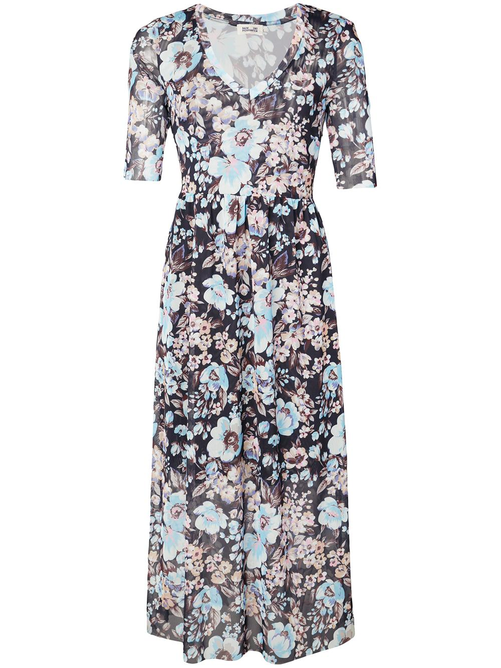 Janeth Floral Print 3/4 Sleeve Maxi Dress