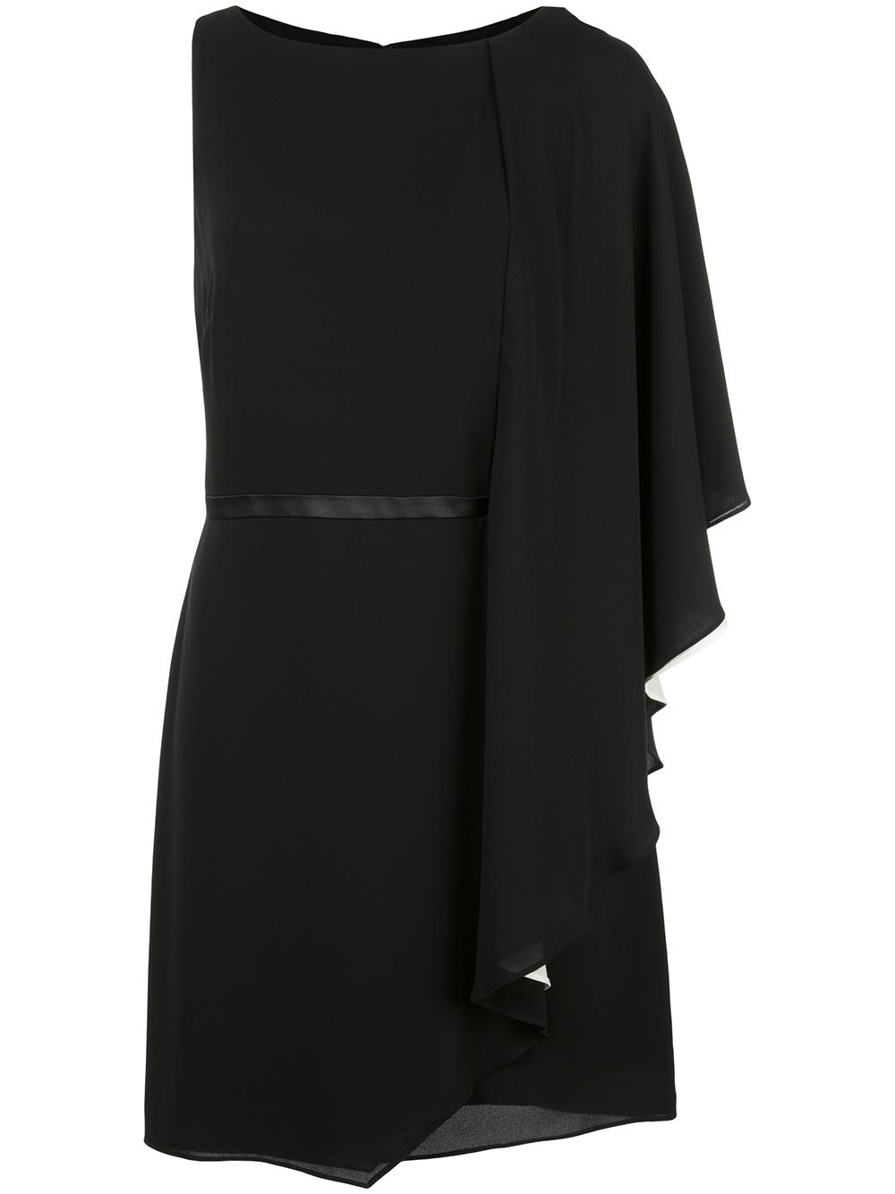 Asymmetrical Draped Sleeve Flowy Dress