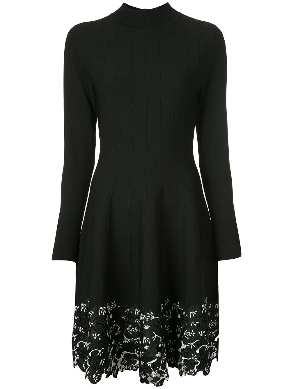 Long Sleeve Lace Hem Knit Dress
