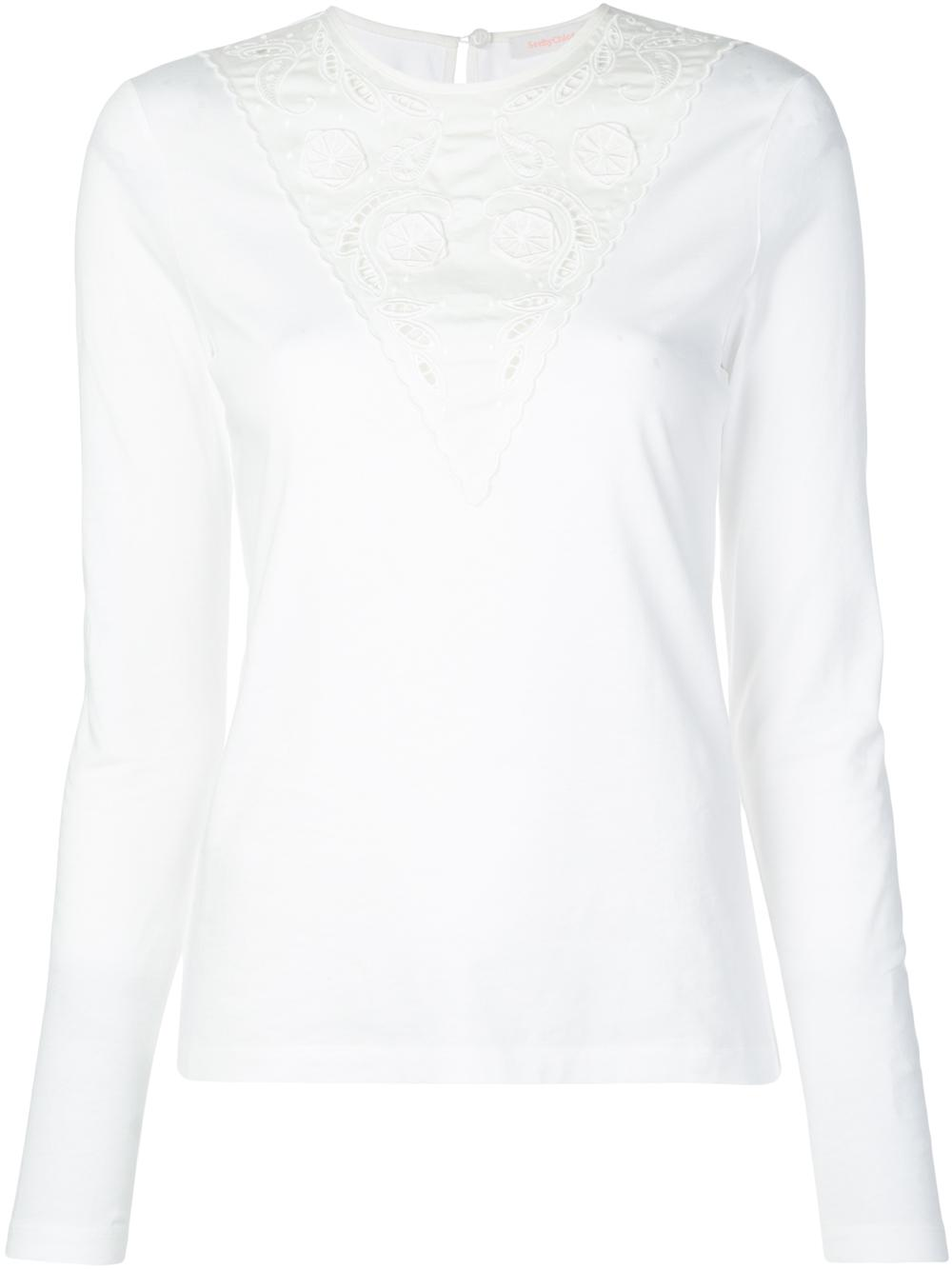 Long Sleeve Knit Top With Neckline Embroider