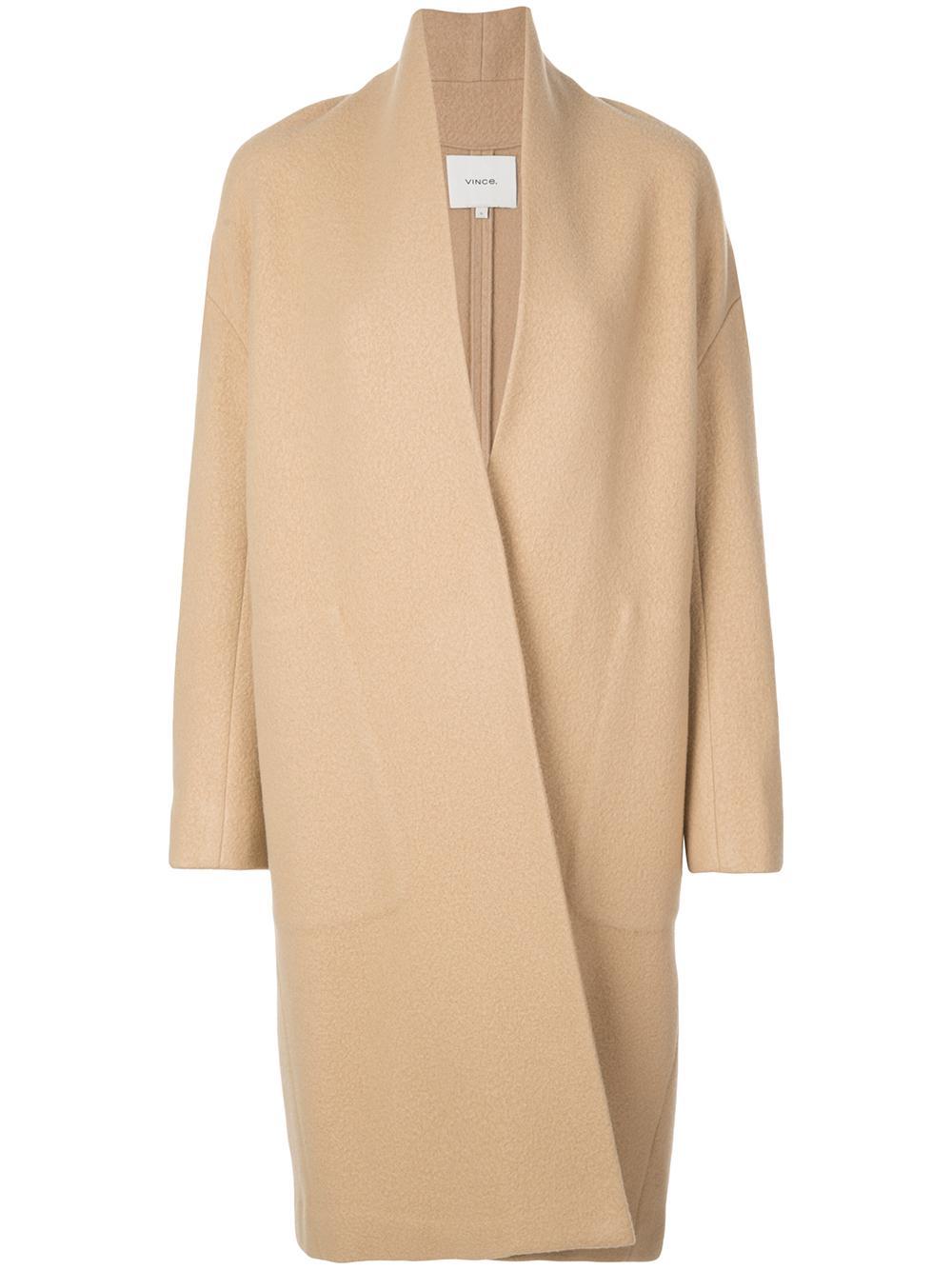 Collarless Long Open Coat