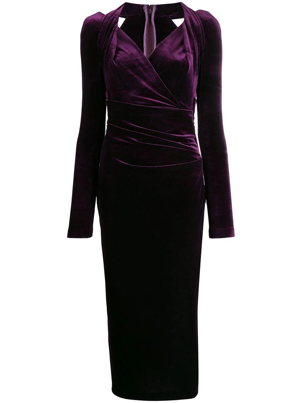 Long Sleeve Stretch Velvet Midi Dress
