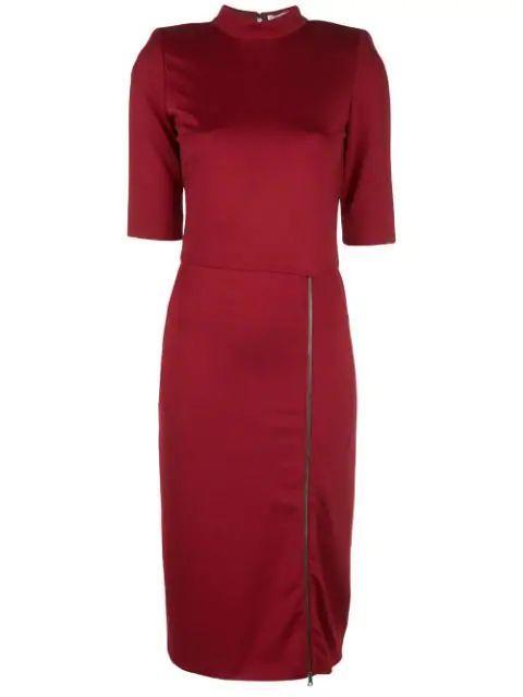 Inka Mock Neck Zip Slit Midi Dress Item # CC908073527