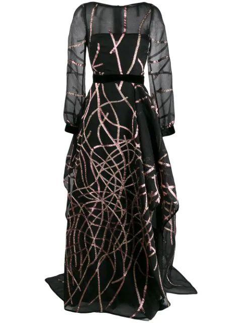 Long Sleeve Mikado Organza Cloque Gown