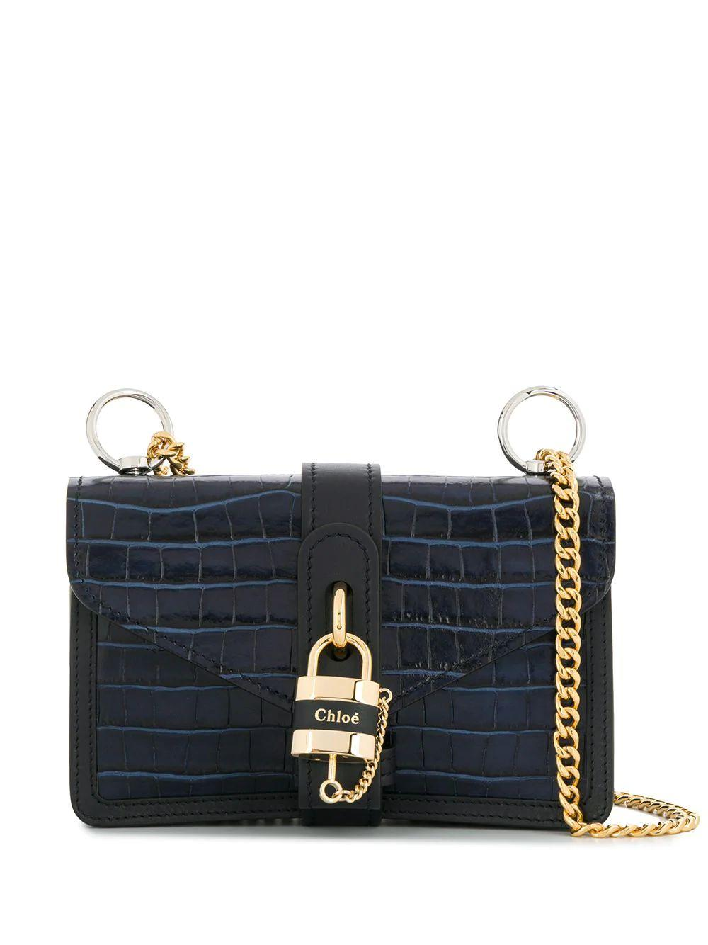 Aby Crocodile Embossed Bag With Lock Chain Strap