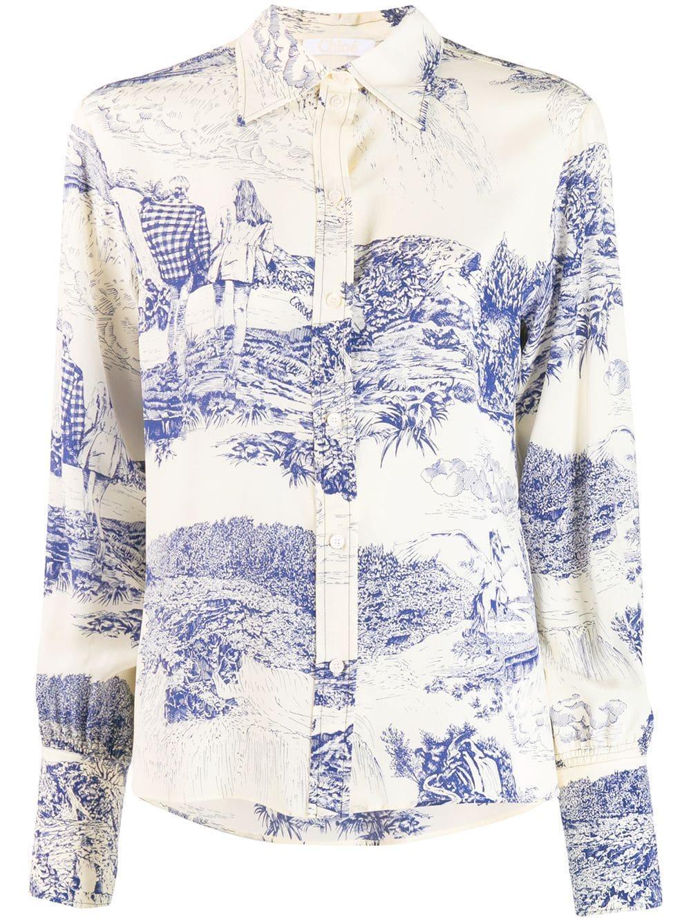 Long Sleeve Toile De Jouy Print Blouse Item # CHC19WHT59338