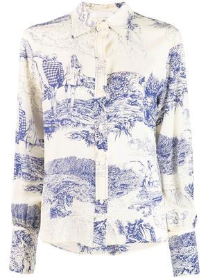 Long Sleeve Toile de Jouy Print Blouse