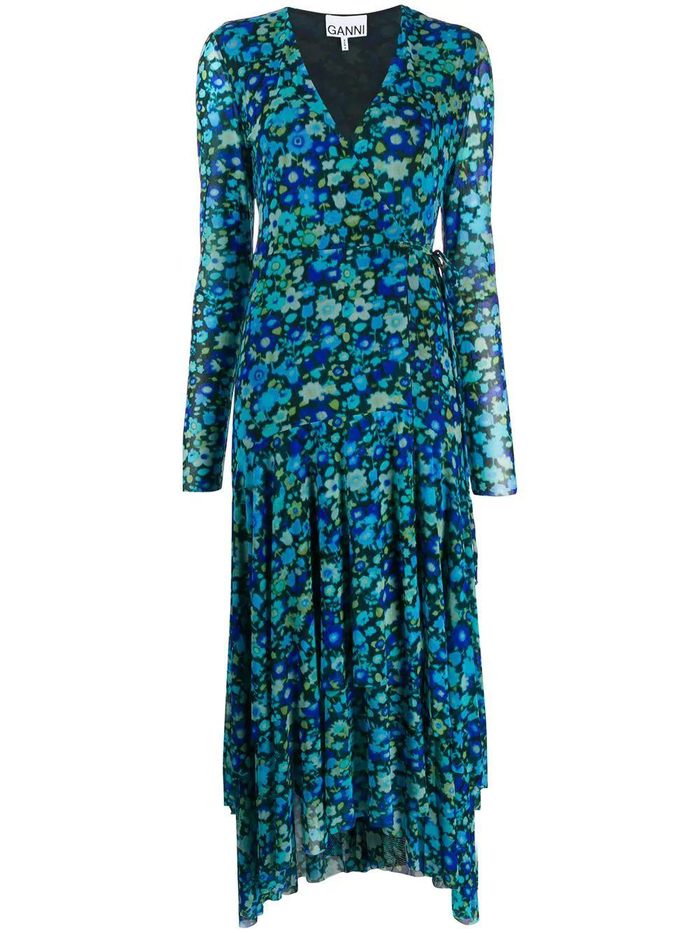Printed Mesh Wrap Front Maxi Dress
