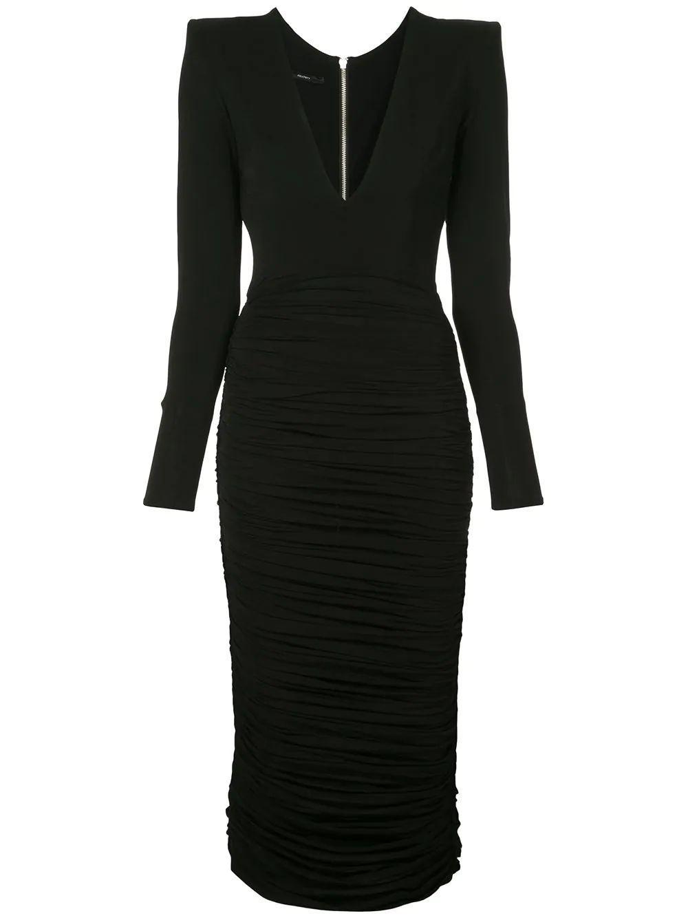 Clove Mesh Ruched V Neck Dress Item # D512