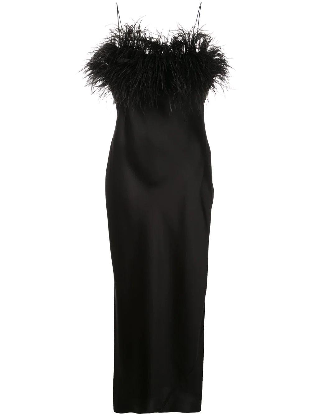 Cerise Silk Feather Trim Midi Dress