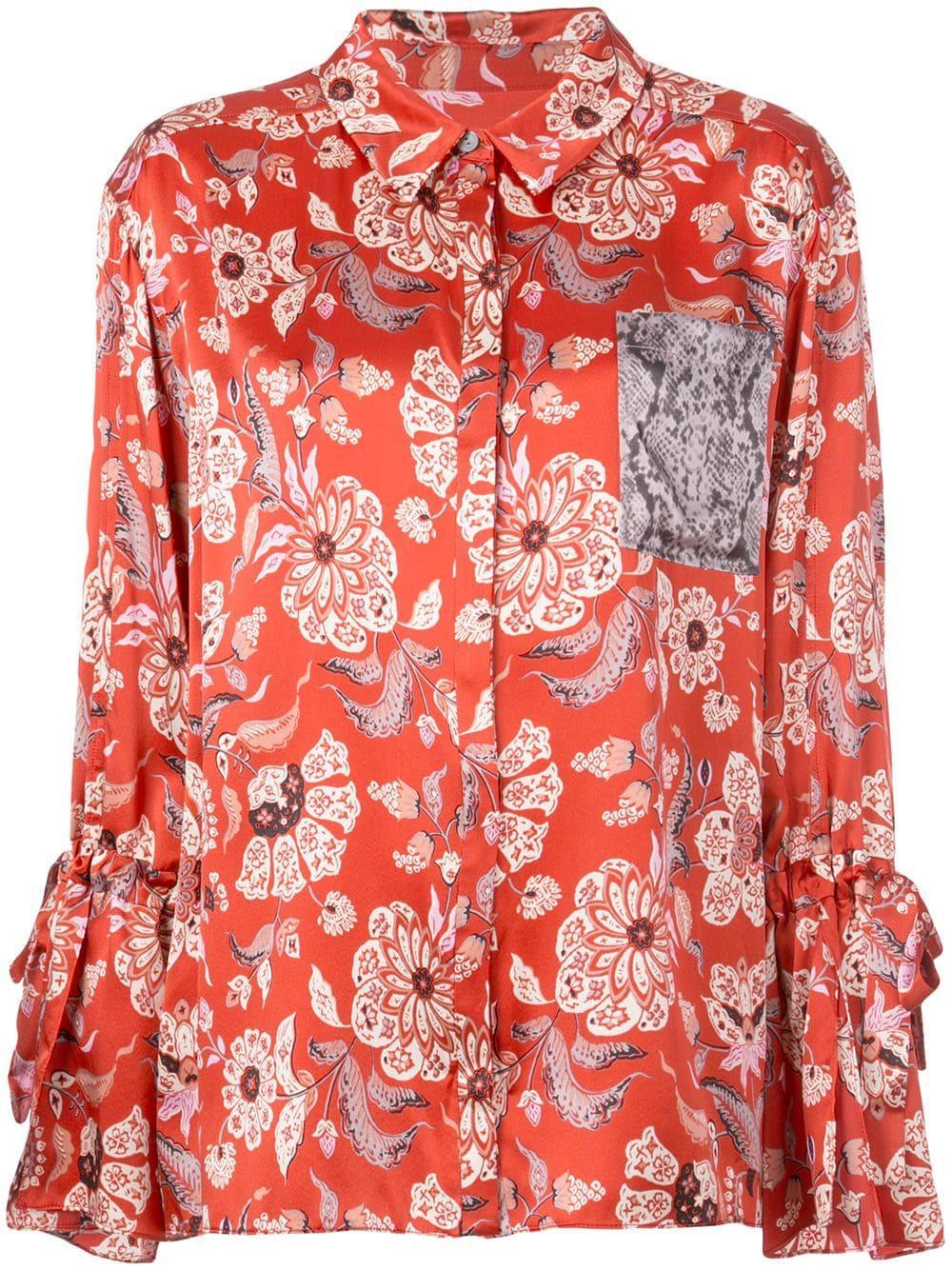 Elisia Paisley Print Front Pocket Silk Blouse