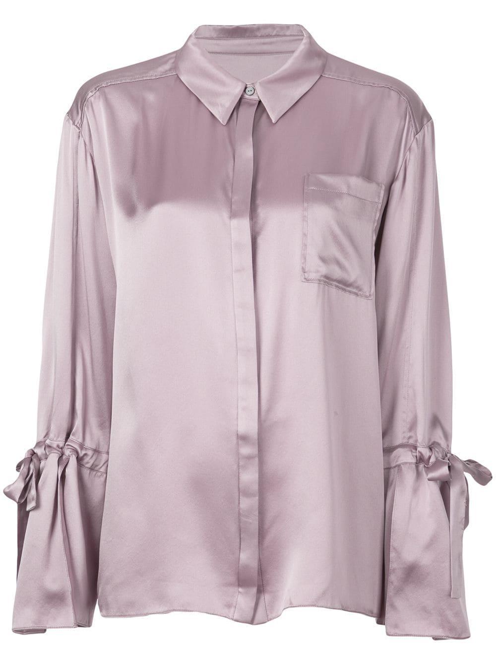 Elisia Silk Satin Tie Cuff Buttondown Blouse Item # ZW537C1468Z