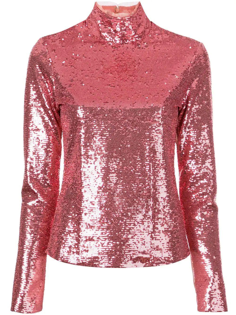Joan Sequin Mock Neck Long Sleeve Top Item # ZW7022776Z