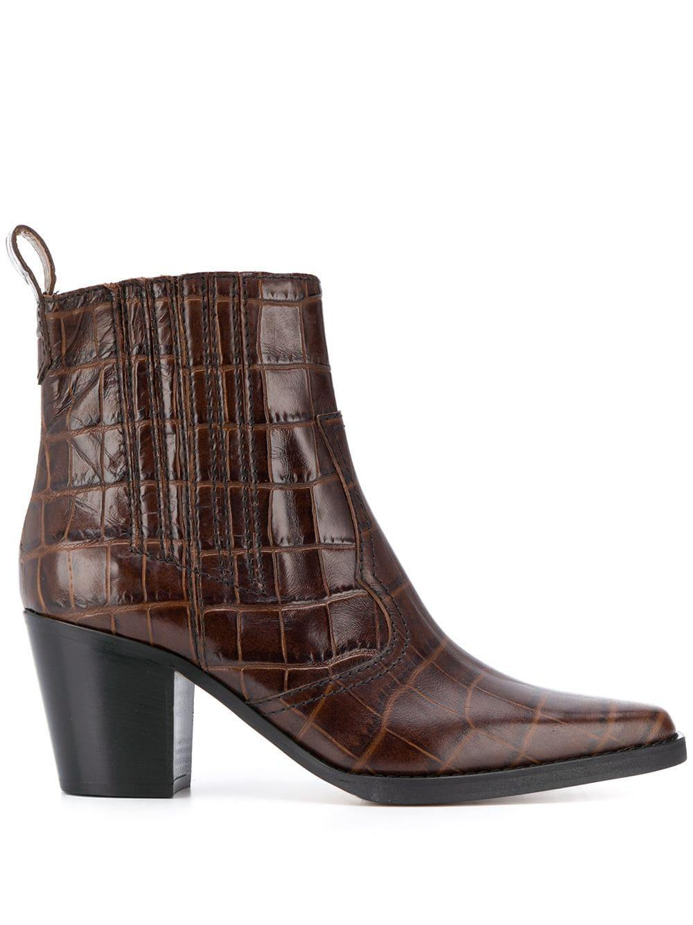 Western Croc Embroidery Block Heel Booties