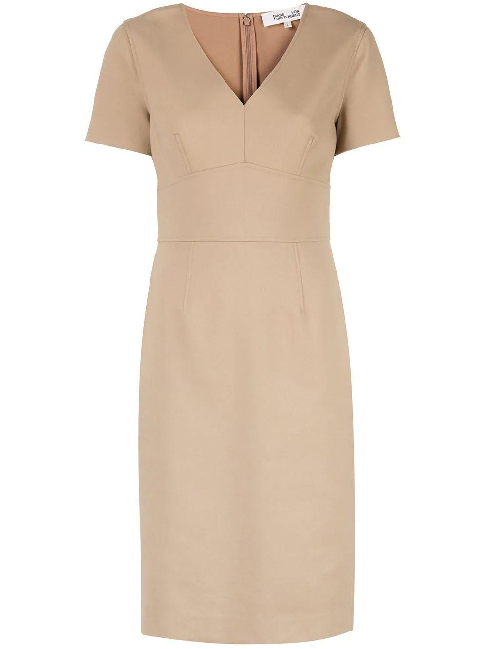 Klara V Neck Short Sleeve Sheath Dress