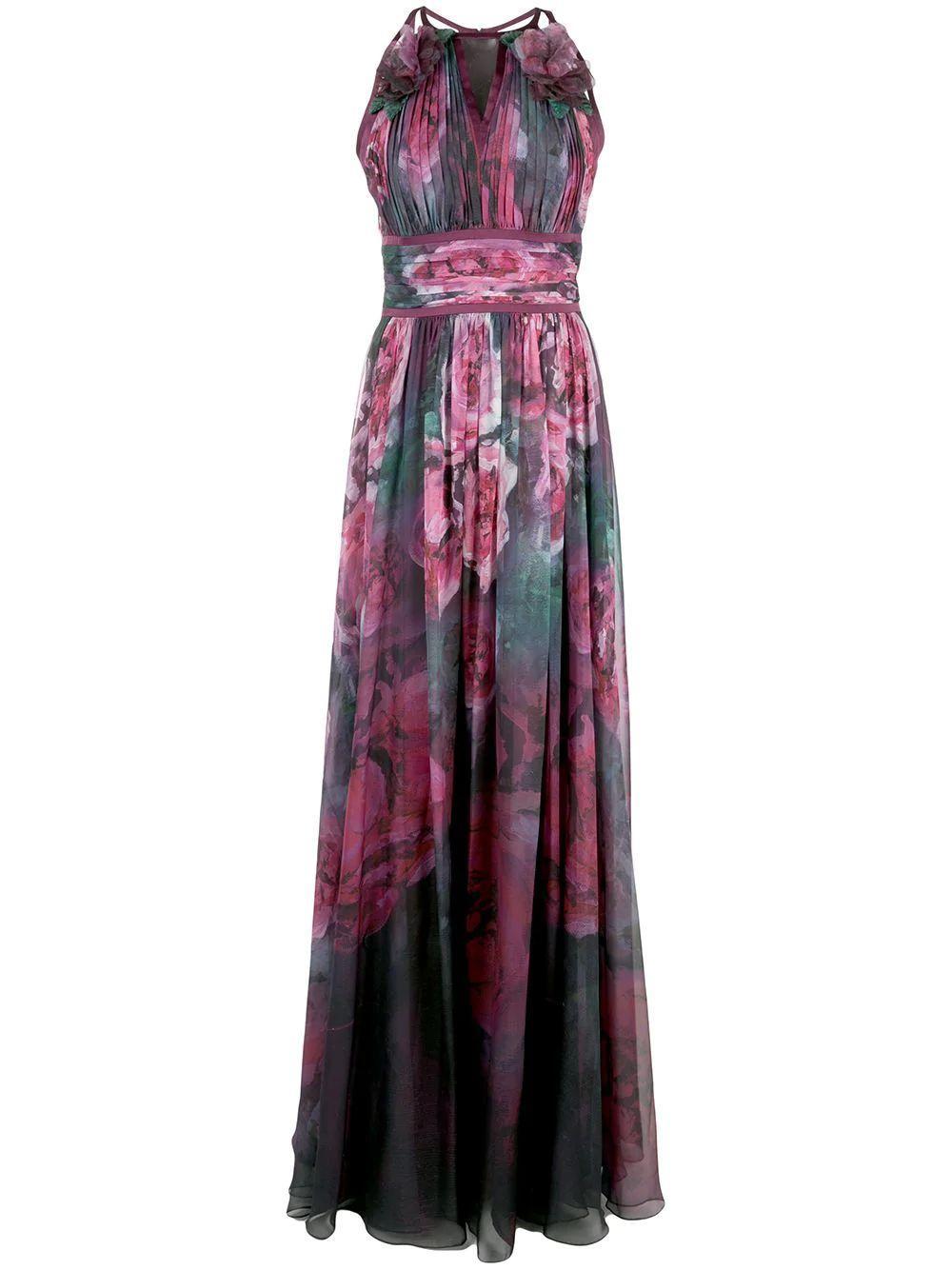 Sleeveless Printed Chiffon Gown Item # N33G1002