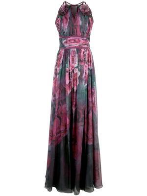 Sleeveless Printed Chiffon Gown