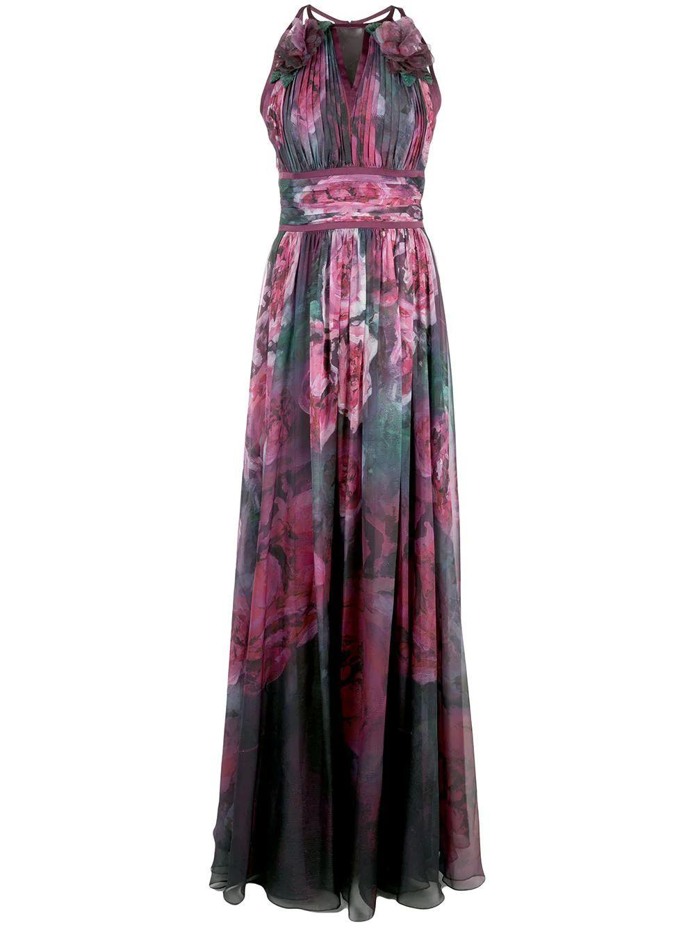 Sleeveless Printed Chiffon Gown