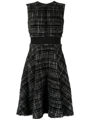 Sleeve Less Tweed Fit Flare Dress With Waist Band