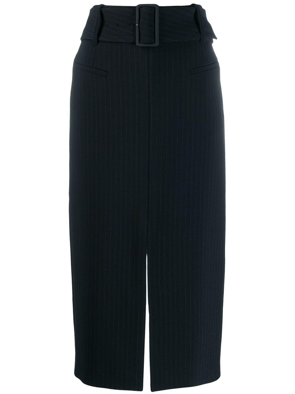 Distinctive Stripes Belted Pencil Skirt