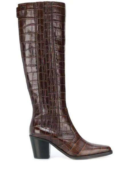Western Knee High Croc Embroidery Boot Item # S1009
