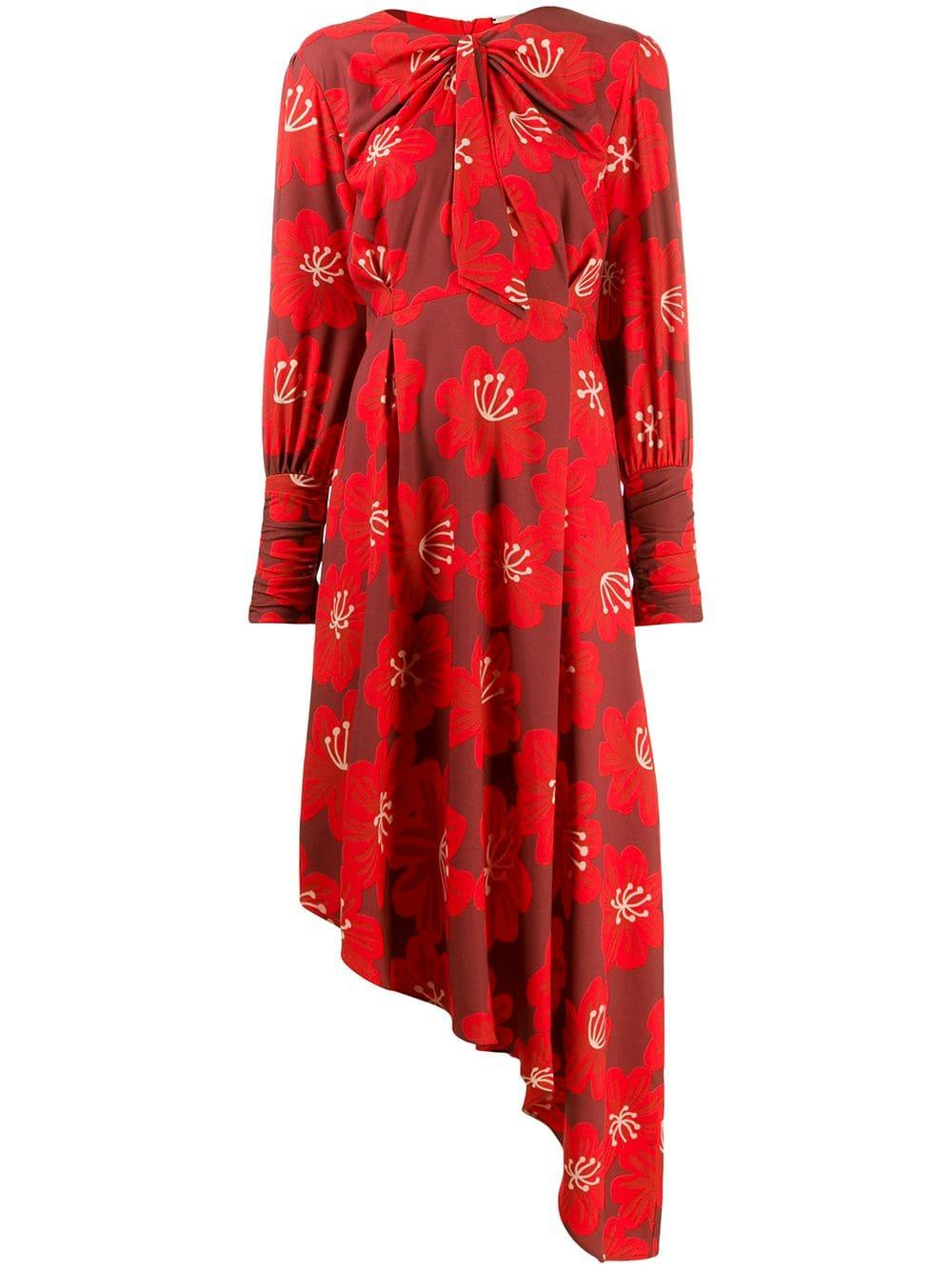 Melody Print Asym Hem Knot Neck Long Dress