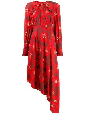 Melody Print Asym Hem Knot Neck Long Dress