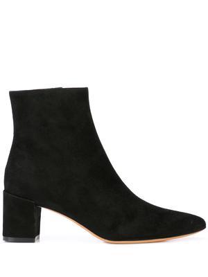 Suede Leather Bootie With Block Heel