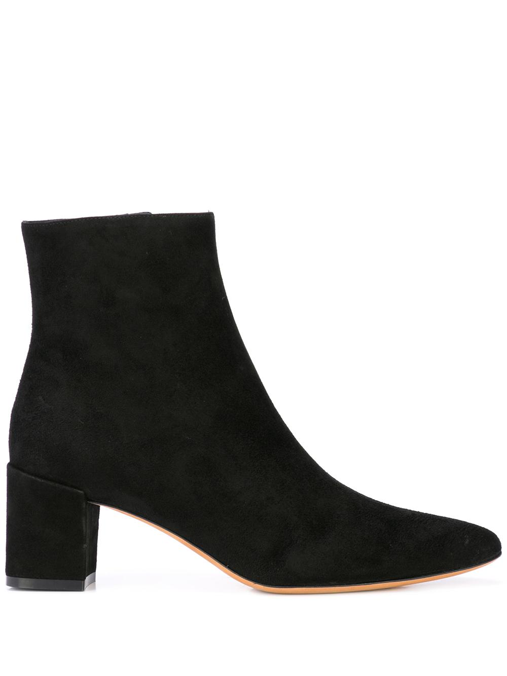 Suede Leather Bootie With Block Heel