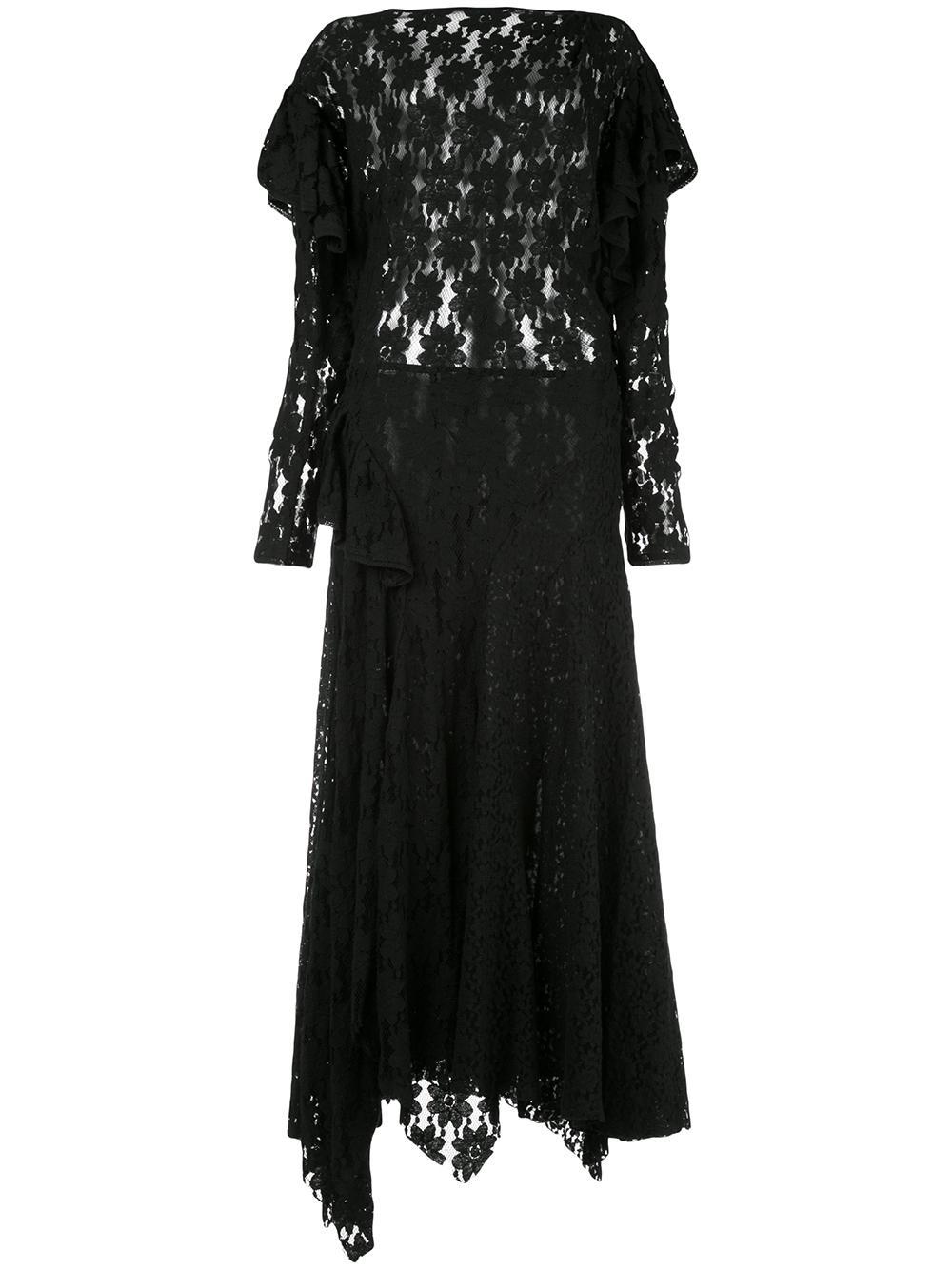 Long Sleeve Draped Lace Dress Item # VALLY