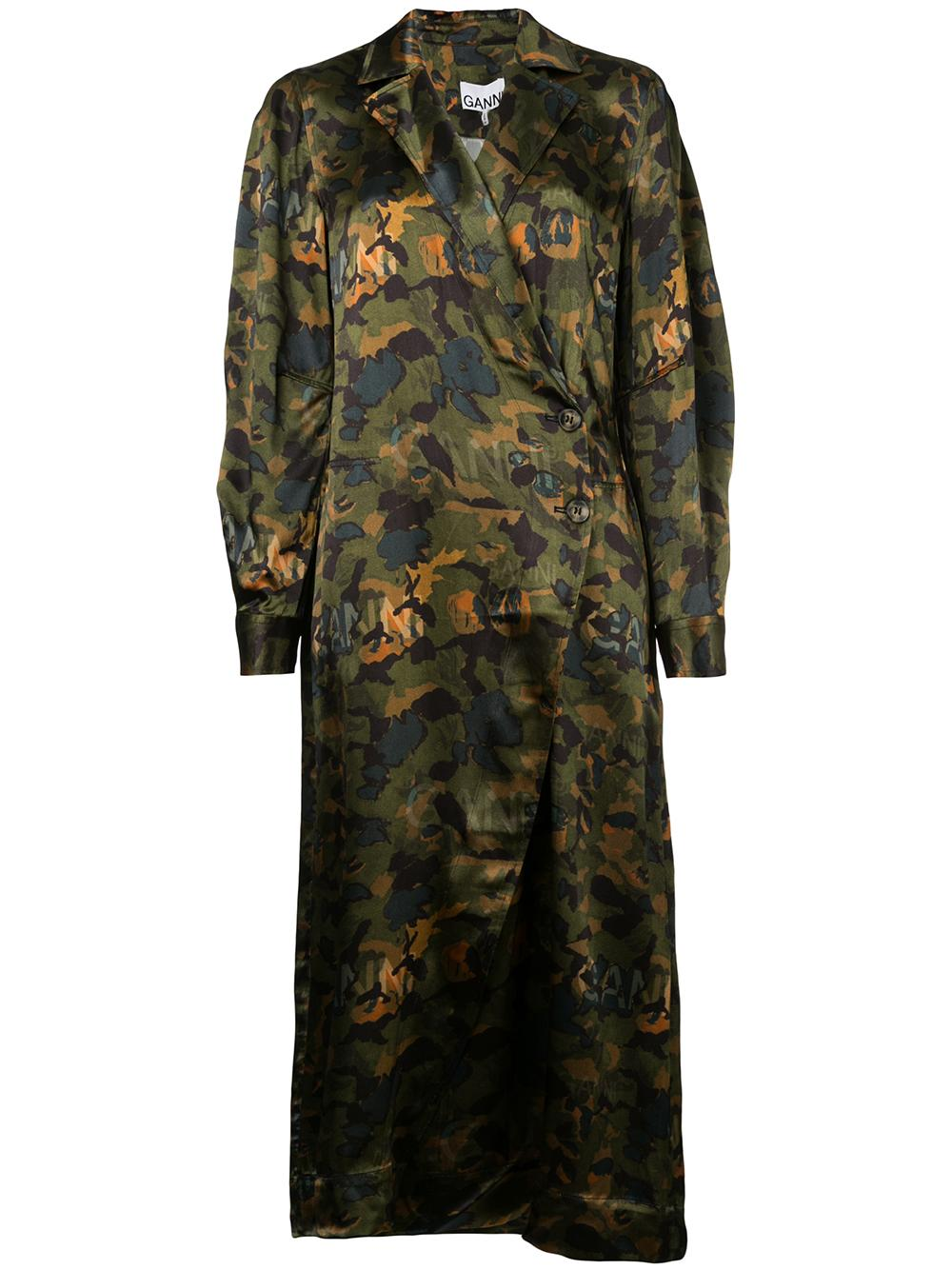 Camo Maxi Duster Dress With Tie Belt Item # F3802