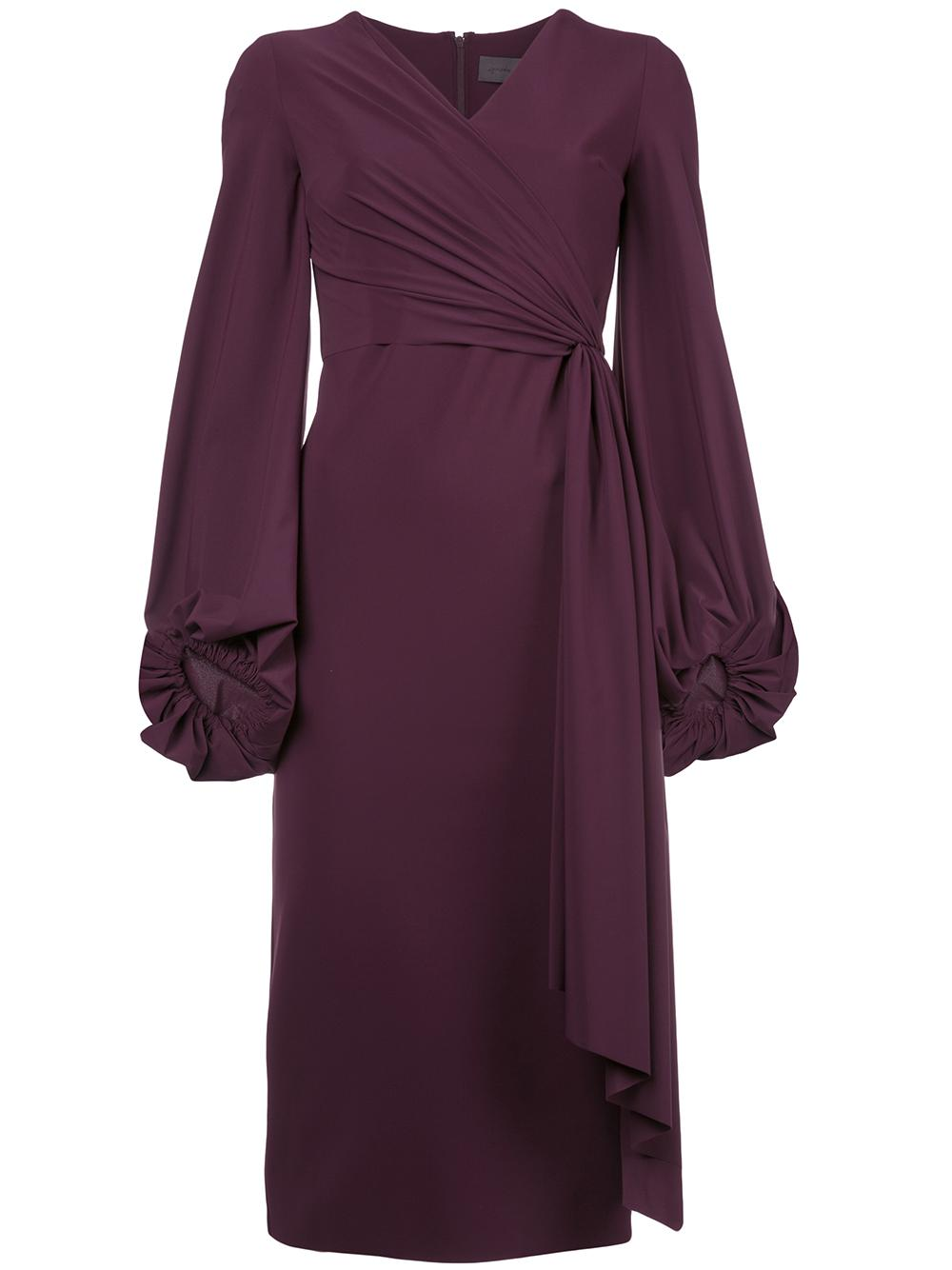 Long Sleeve Blouson Sleeve Side Ruffle Dress