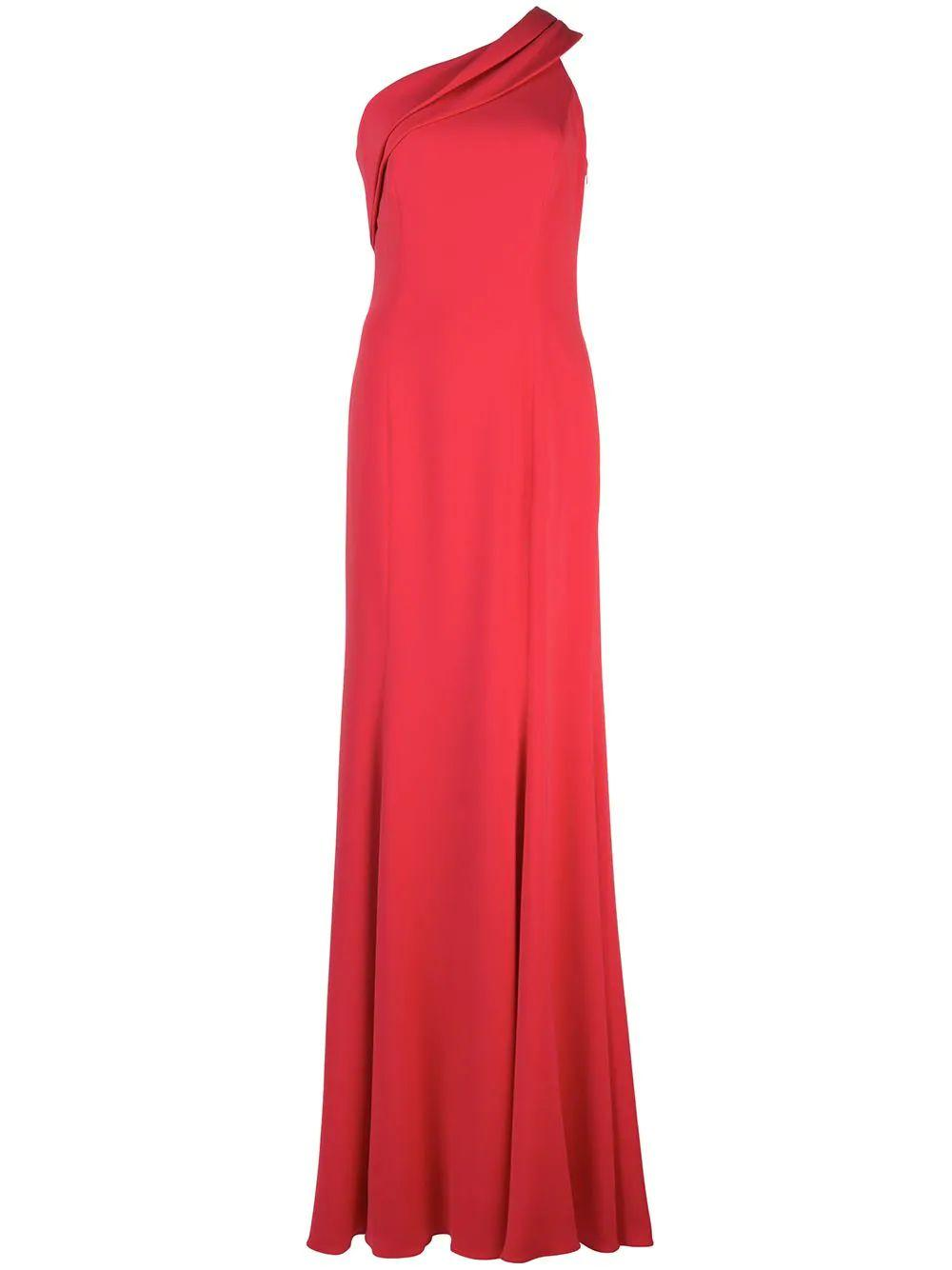 Stone Draped Neck One Shoulder Gown