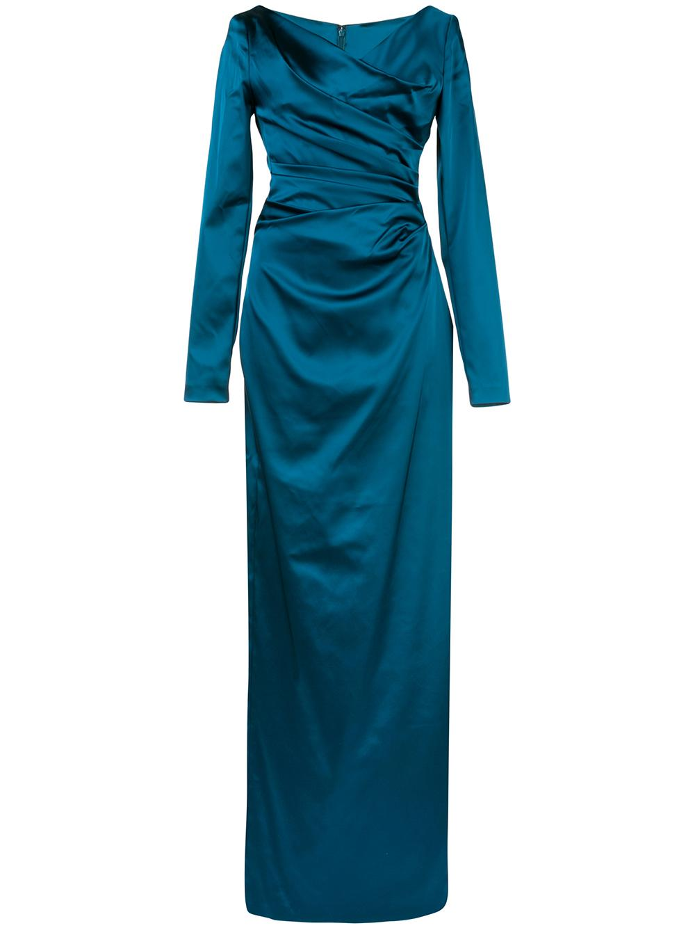 Long Sleeve Open V- Neck Ruched Slim Gown