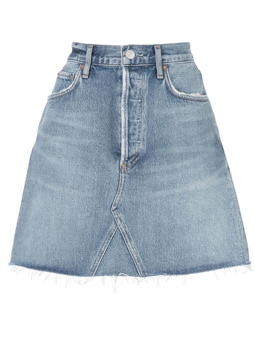 Ada High Rise Mid Length Denim Skirt Item # A125-1141