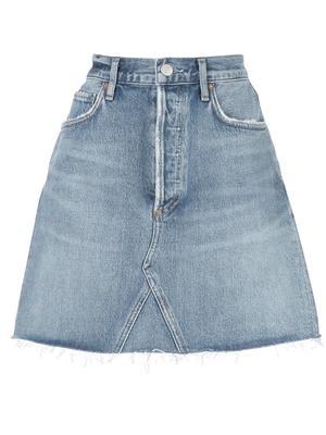Ada High Rise Mid Length Denim Skirt